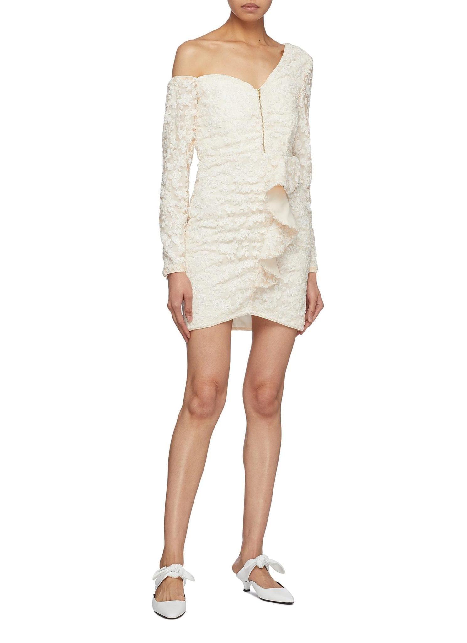 SELF-PORTRAIT Zip Front Ruffle Sequin One-shoulder Cream Dress
