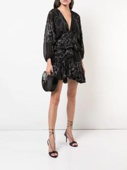 SHONA JOY Floral Print Mini Black / Floral Printed Dress