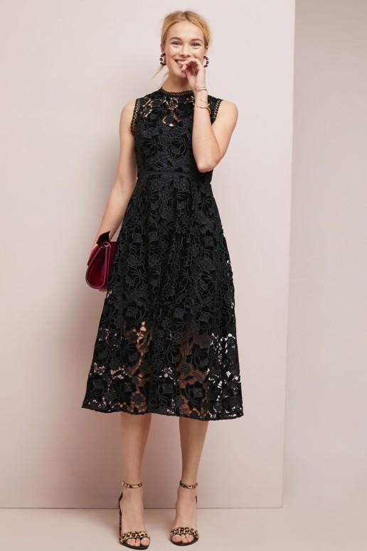 SHOSHANNA Glengarry Lace Black Dress