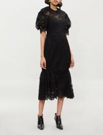 SIMONE ROCHA Puffed-Sleeve Lace Midi Black Dress