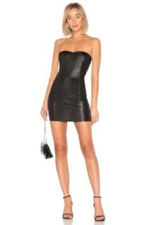 SPRWMN Leather Mini Black Dress