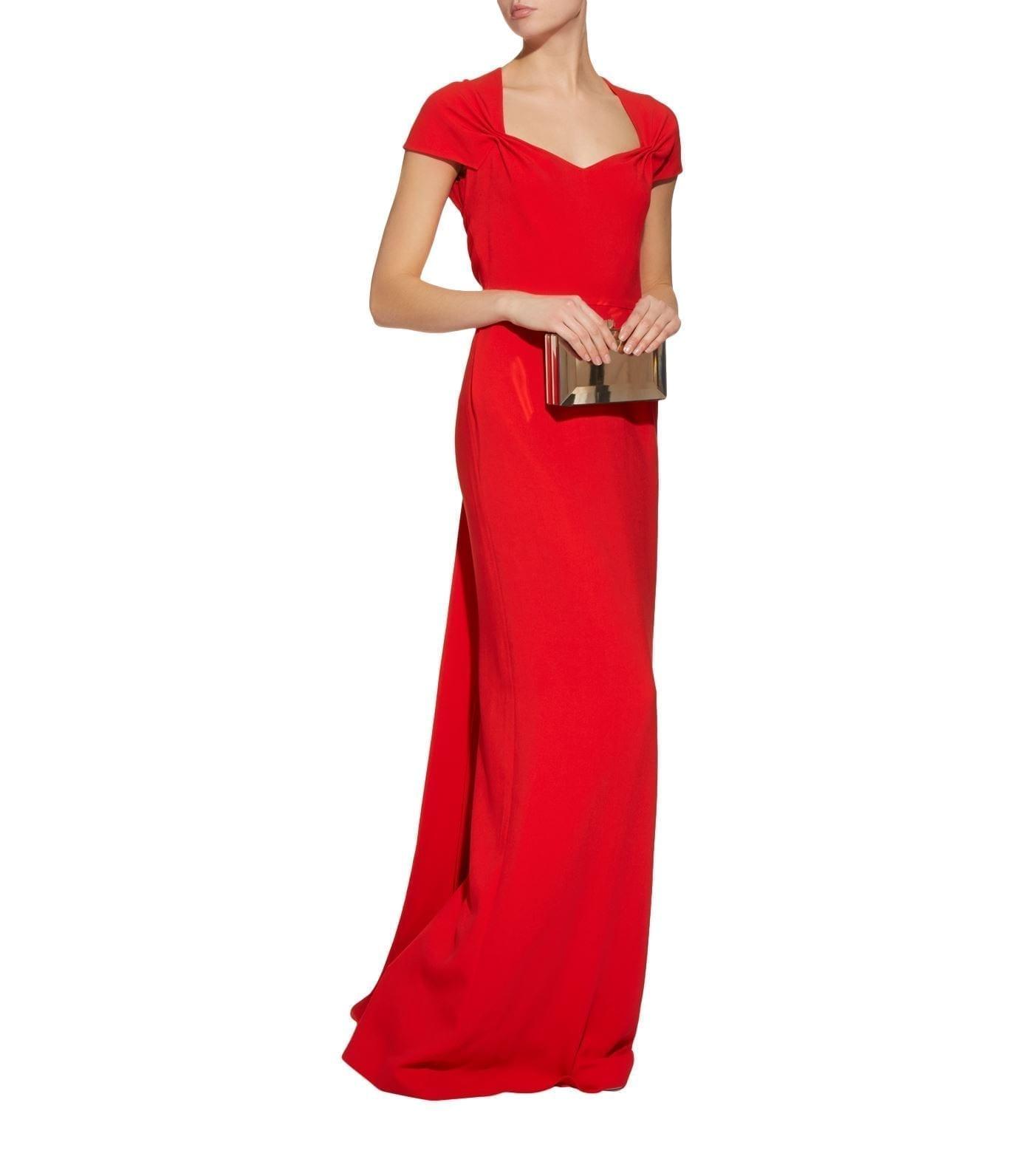 54def9df82cd6 STELLA MCCARTNEY Amal Pinched Shoulder Red Gown - We Select Dresses