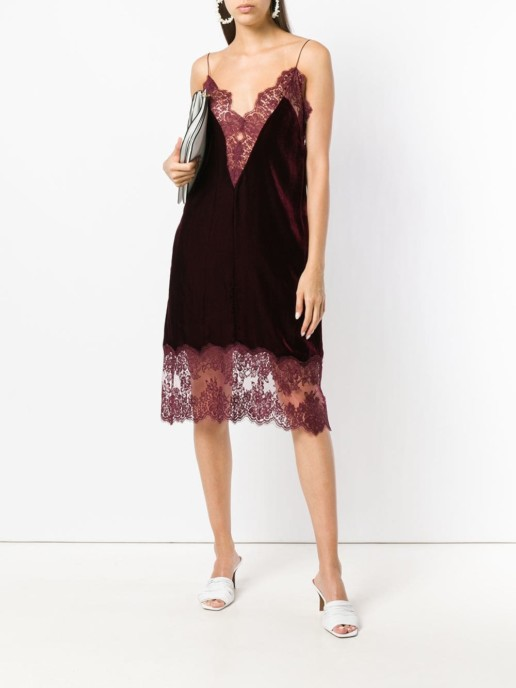 STELLA MCCARTNEY Lace Details Slip Burgundy Dress