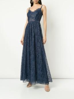 TADASHI SHOJI Flared Fine Lace Blue Gown