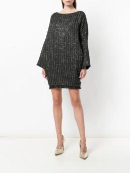 TALBOT RUNHOF Boxy Fit Tweed Black Dress