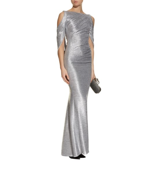 TALBOT RUNHOF Metallic Drape Silver Gown
