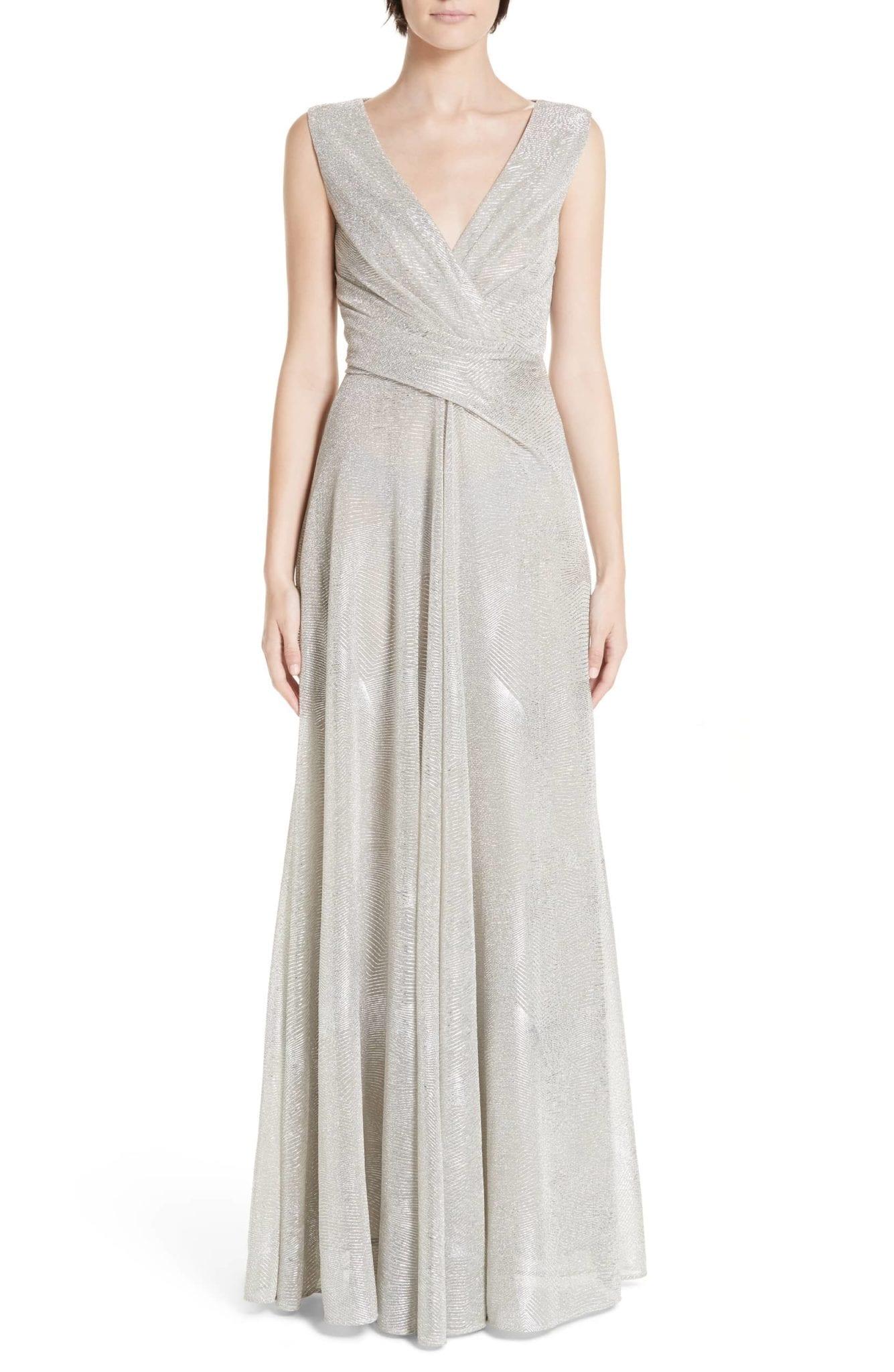 TALBOT RUNHOF Metallic Voile A-Line Platinum Gown