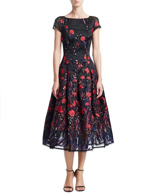 TALBOT RUNHOF Poppy Field Silk Cap Sleeve Black Dress