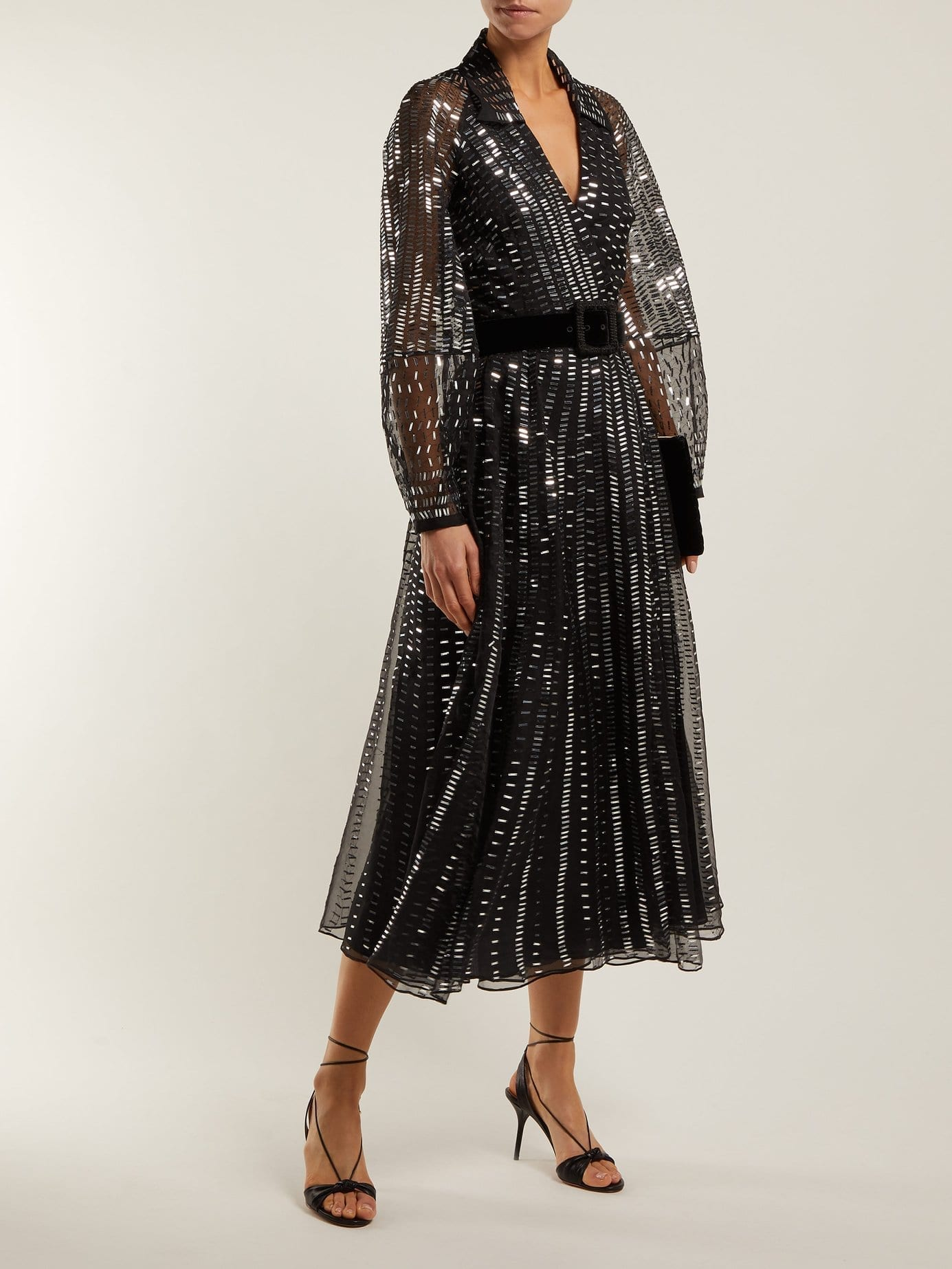 TEMPERLEY LONDON Jet Sequinned Silk Organza Wrap Black Gown
