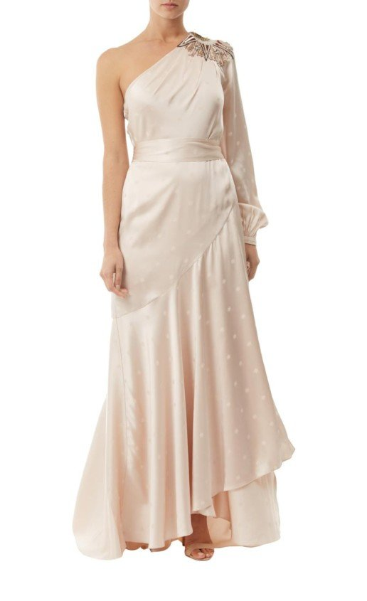 TEMPERLEY LONDON Parachute Asymmetric Oyster Gown