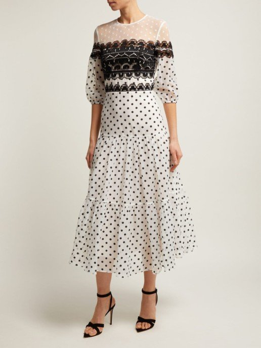 TEMPERLEY LONDON Polka-Dot Cotton-Blend Midi White Dress