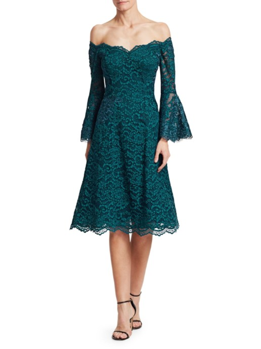 TERI JON BY RICKIE FREEMAN Bell Sleeve Off-The-Shoulder Lace Teal Dress