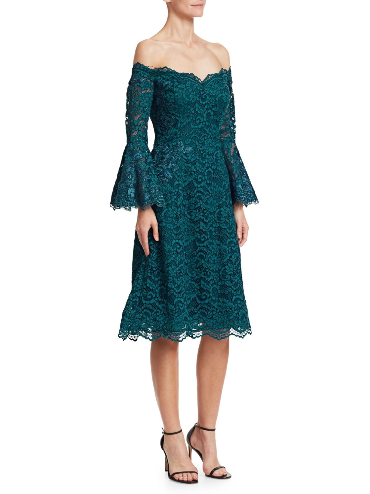 Teri Jon By Rickie Freeman Bell Sleeve Off The Shoulder Lace Teal Dress