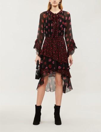 THE KOOPLES Floral-print Silk-Chiffon Ruffled Black Multi Dress