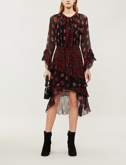 THE KOOPLES Floral-print Silk-Chiffon Ruffled Black Multi Dress