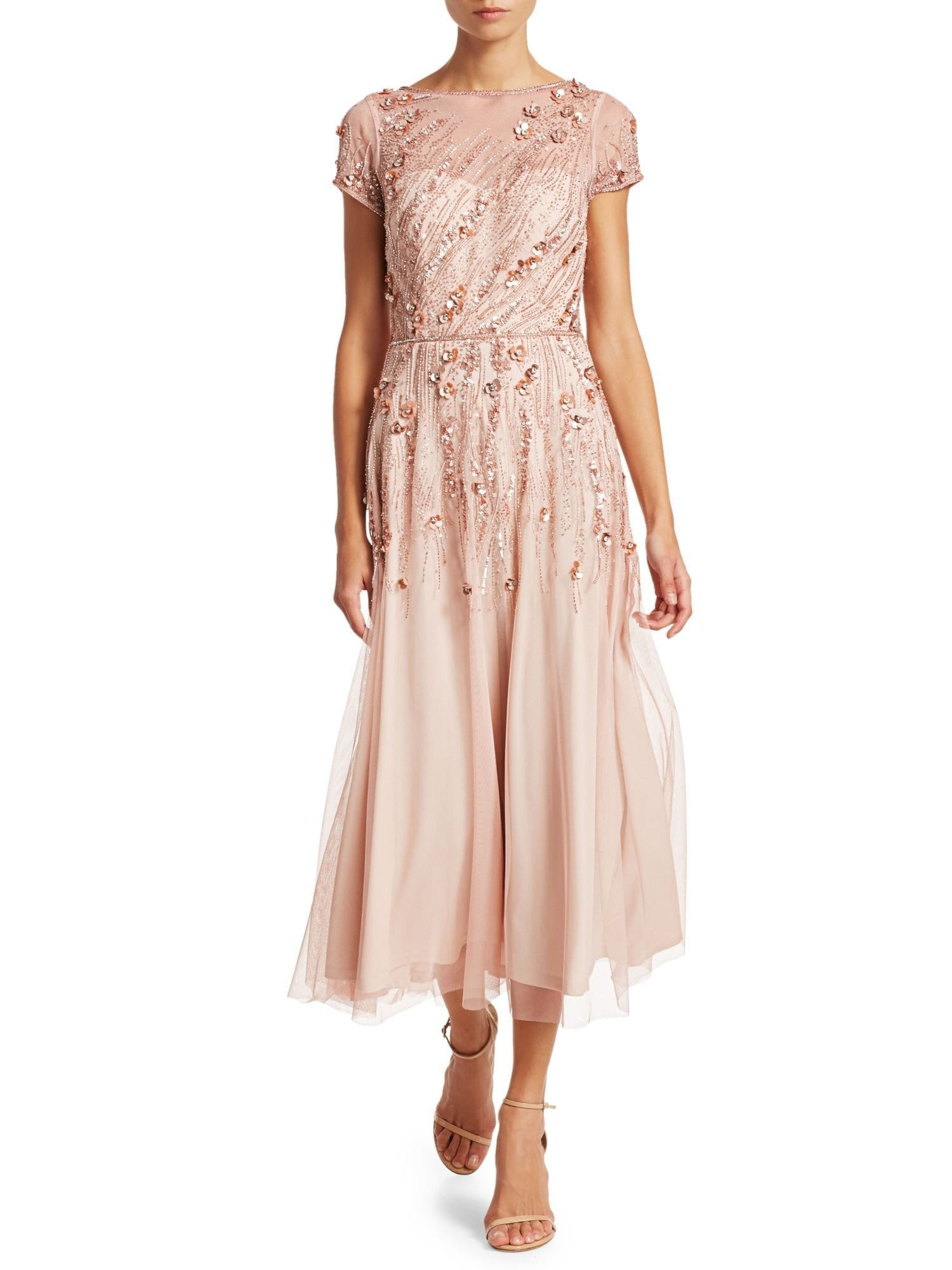THEIA Embellished Tulle Cocktail Pink Dress