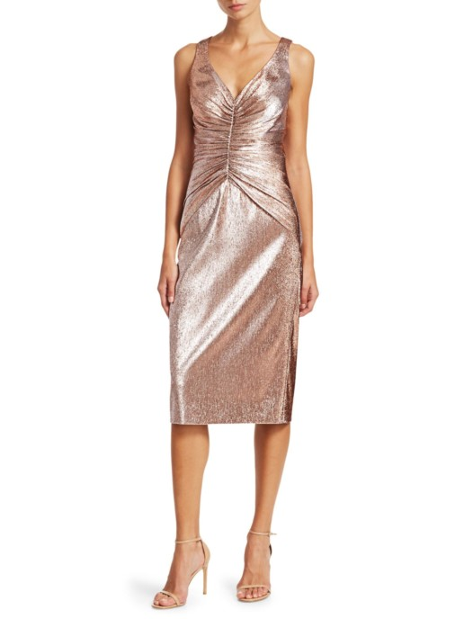 THEIA Ruched Midi Metallic Blush Dress