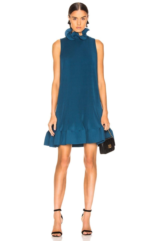 TIBI Pleated Short Sleeveless Teal Dress