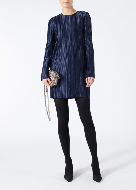 TIBI Plisse Mini Navy Dress