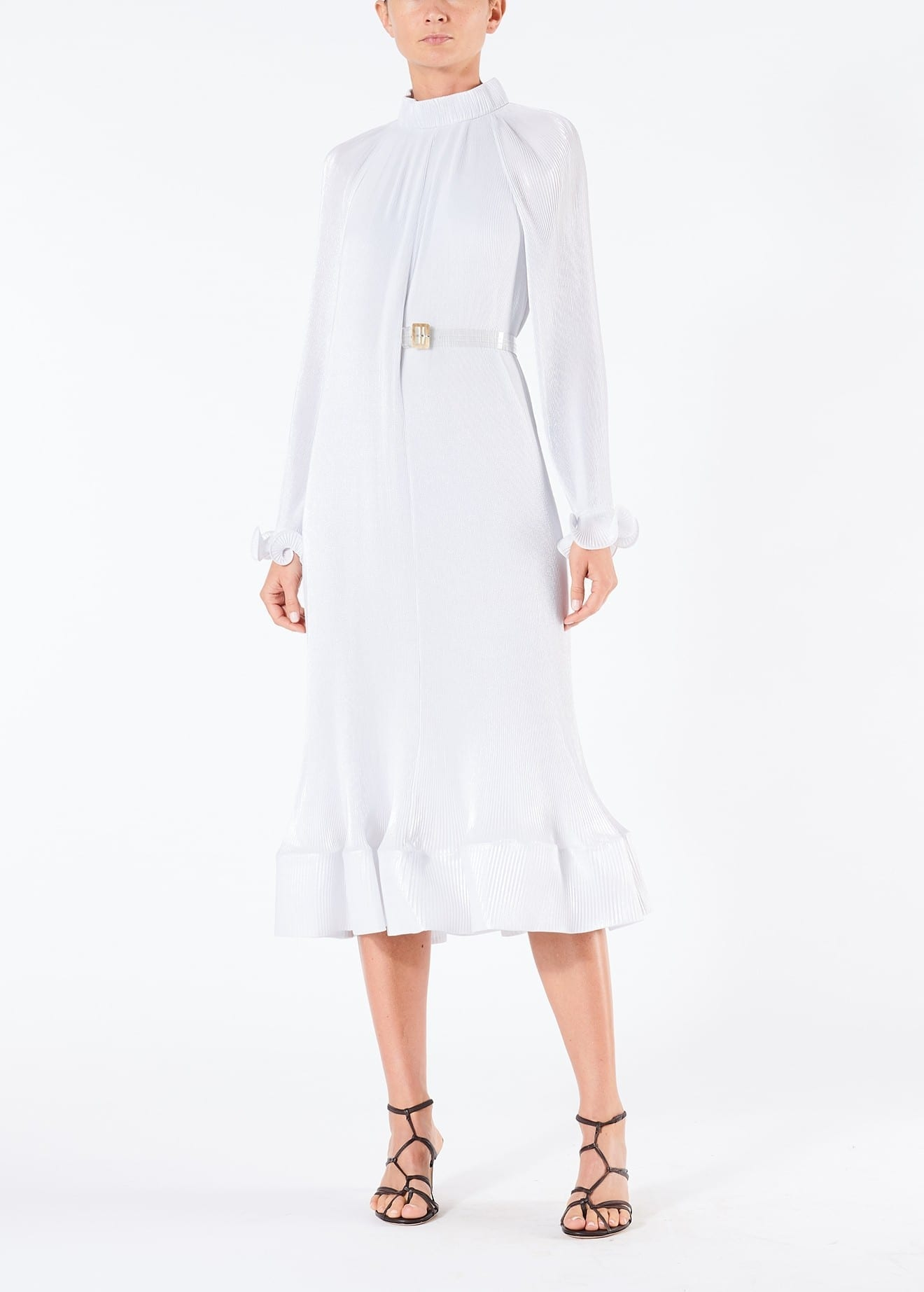 TIBI Removable Belt With Pleated Silver Dress
