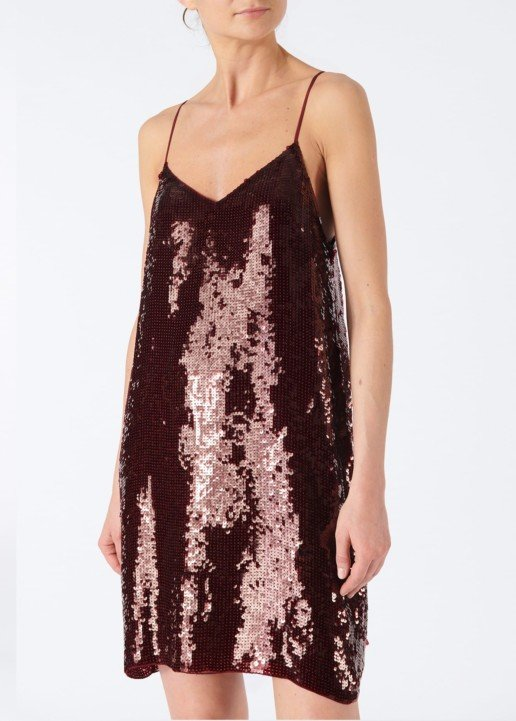 TIBI Sequined Slip Burgundy Dress