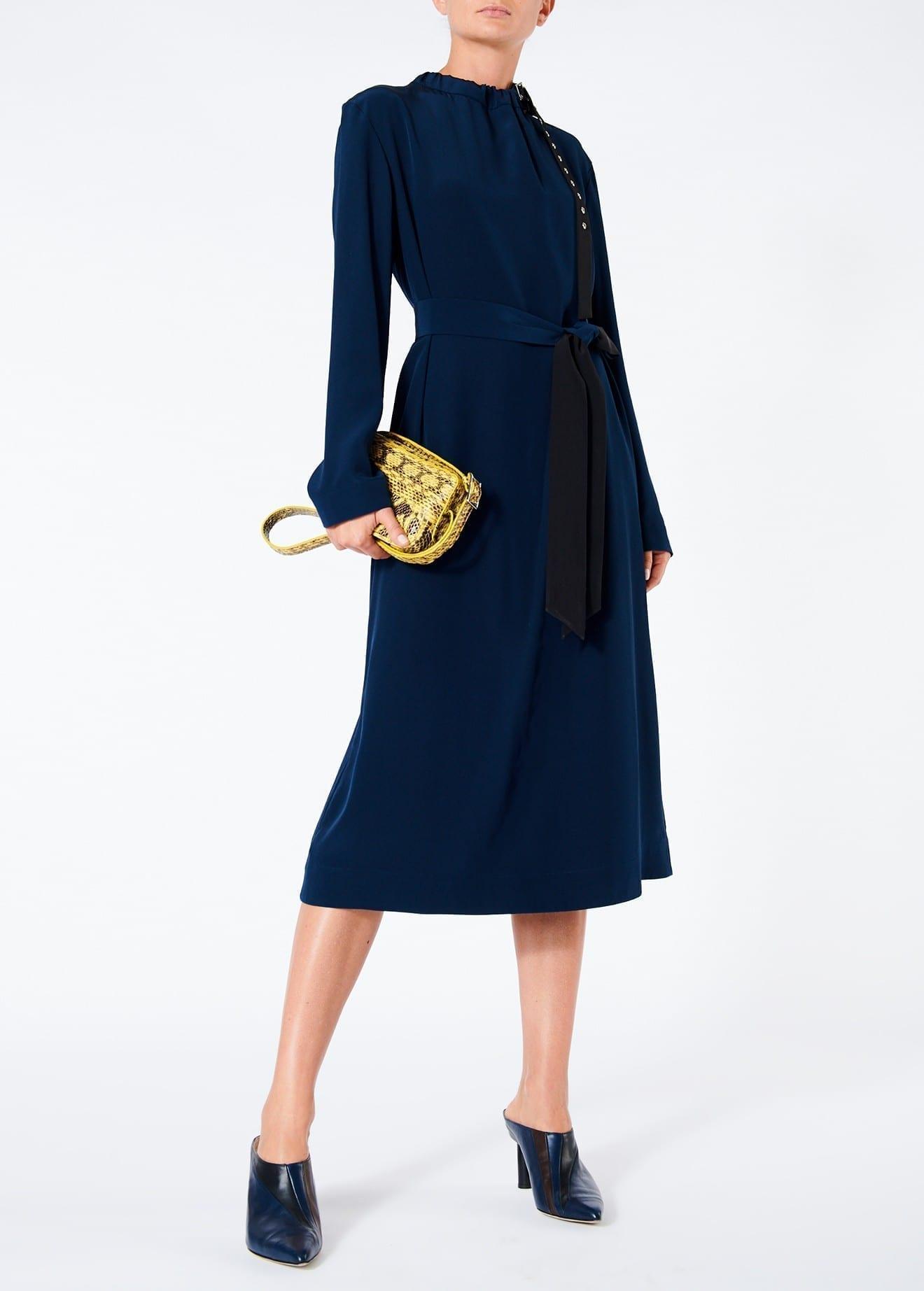 TIBI Silk Color Block Midi Navy Dress