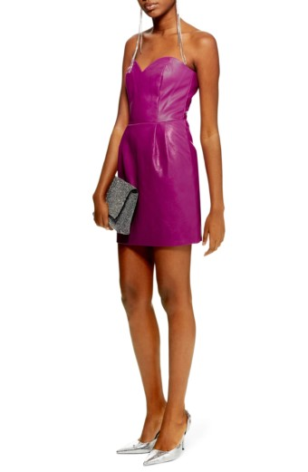 TOPSHOP Faux Leather Bandeau Mini Purple Dress