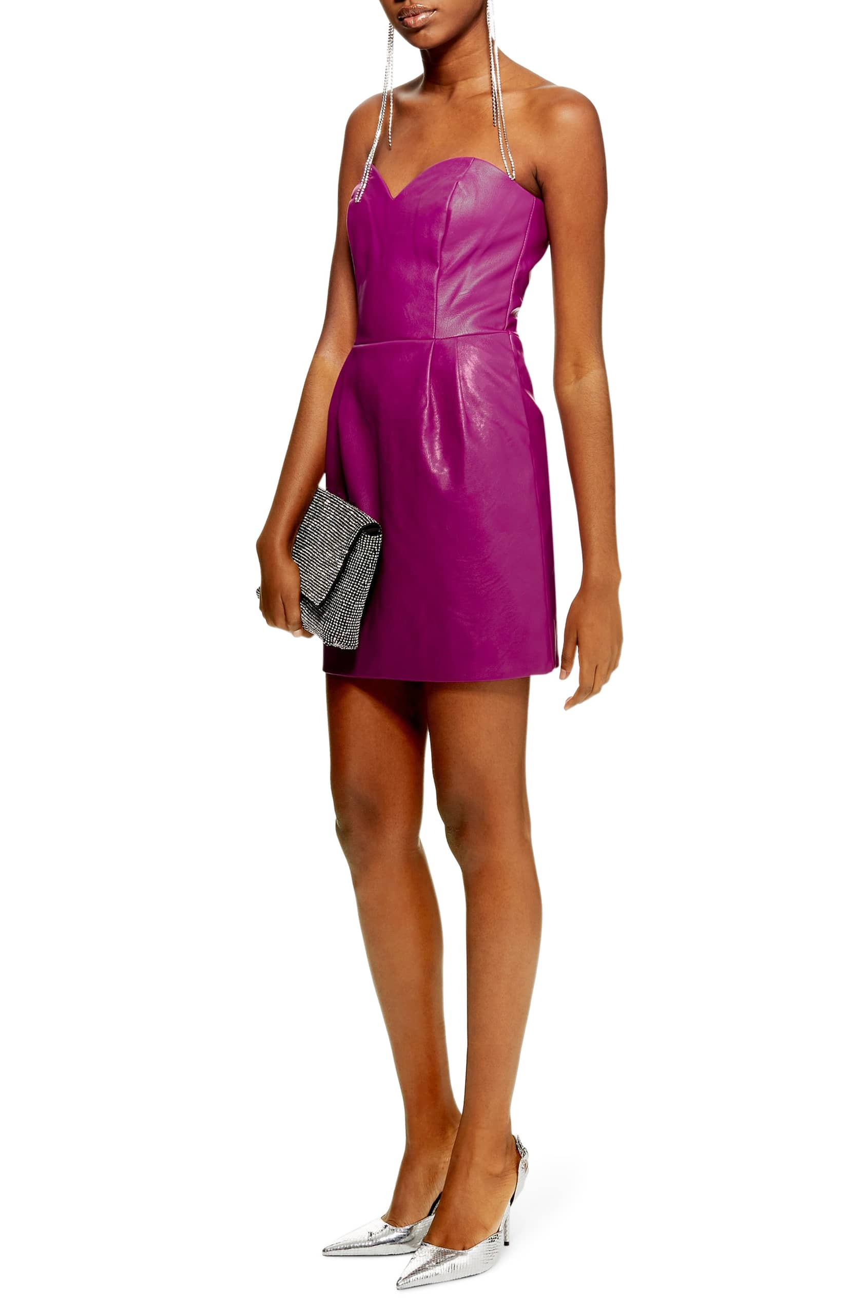 TOPSHOP Faux Leather Bandeau Mini Purple Dress