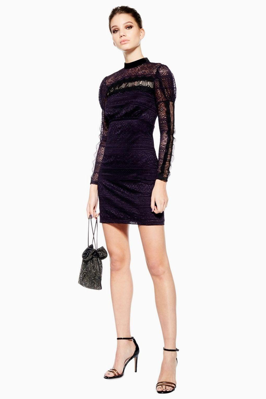 Top Scallop Lace Trim Dark Plum Dress