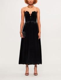 VALENTINO Scalloped Strapless Velvet Nero Dress