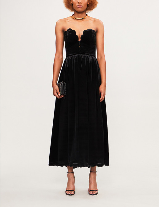 VALENTINO Scalloped Strapless Velvet Nero Dress