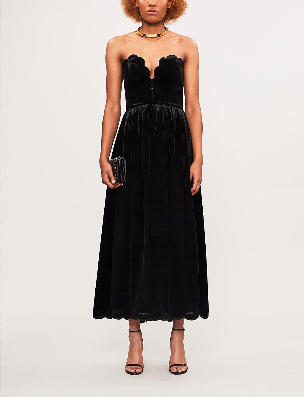 dd7e0961447d VALENTINO Scalloped Strapless Velvet Nero Dress - We Select Dresses