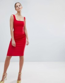 VESPER Square Neck Pencil Red Dress