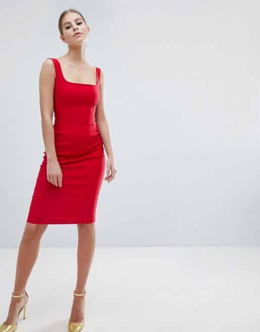 VESPER Square Neck Pencil Red Dress
