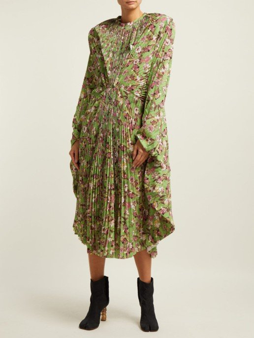 VETEMENTS Pleated Green / Floral Printed Dress