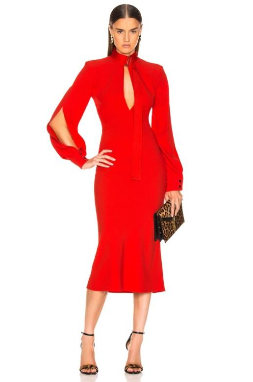 VICTORIA BECKHAM Slash Front Long Sleeve Midi Red Dress