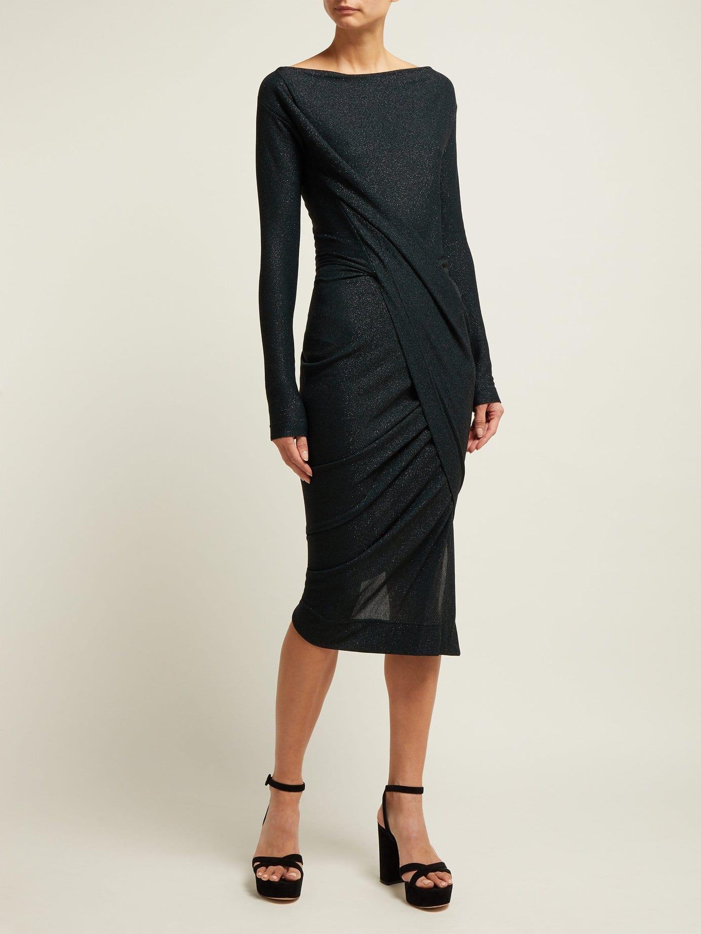 a43f1343140 VIVIENNE WESTWOOD ANGLOMANIA Vian Draped Asymmetric Midi Dark Green Dress