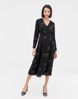WAREHOUSE Rainbow Print Midi Black Dress