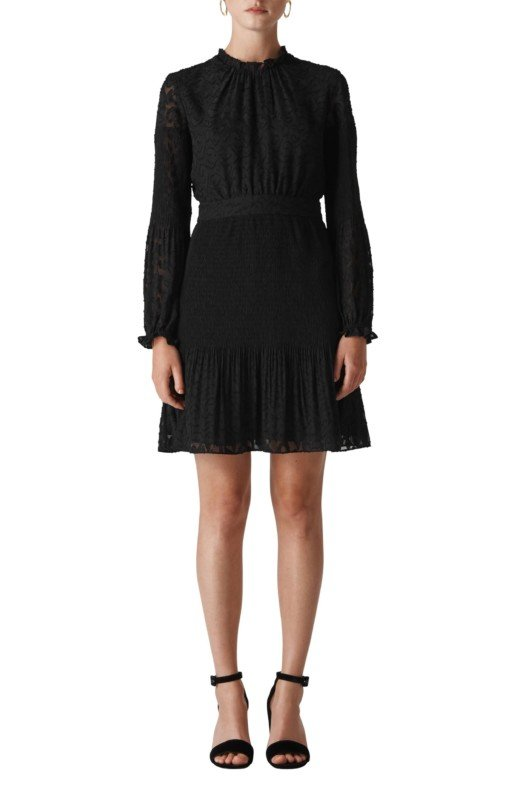 WHISTLES Animal Devoré Pleated Black Dress