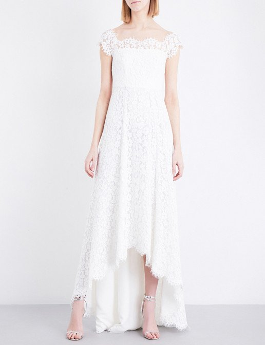 WHISTLES Rose Off-The-Shoulder Floral-Lace Wedding White Dress