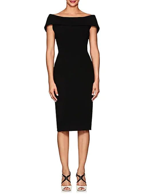ZAC-POSEN-Cady-Fitted-Sheath-Black-Dress
