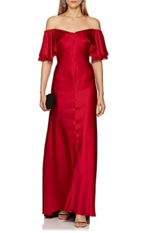 Satin Off-The-Shoulder Red Gown