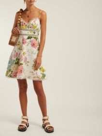 ZIMMERMANN Heathers Floral-Print Linen Mini White Dress