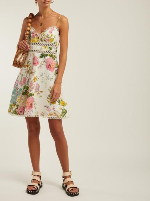 ZIMMERMANN Heathers Floral-Print Linen Mini White Dress