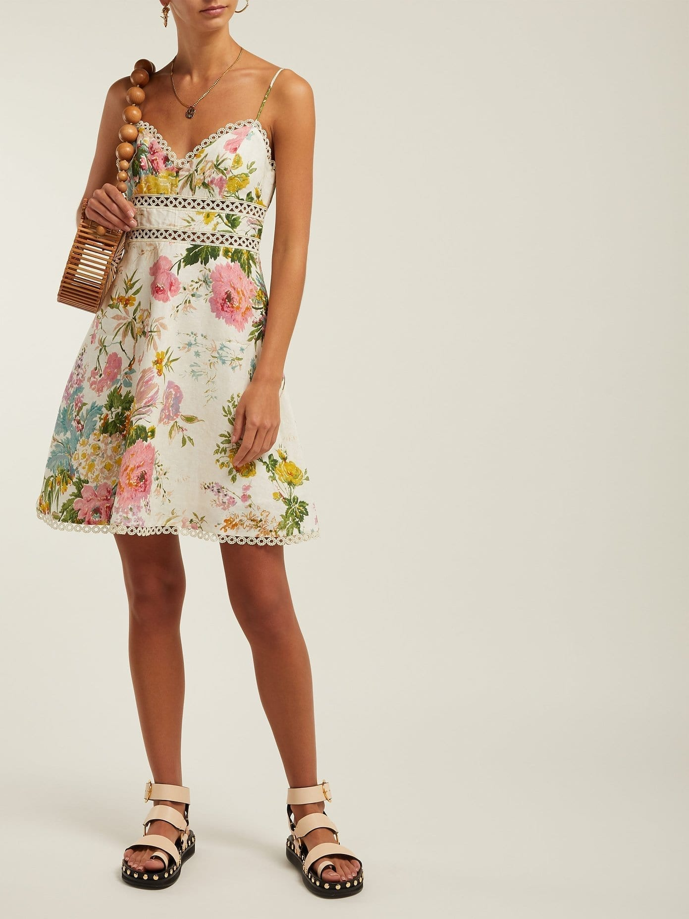 caf26ac2cc6 ZIMMERMANN Heathers Floral-Print Linen Mini White Dress - We Select ...