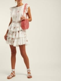 ZIMMERMANN Heathers Floral-print Embroidered Lace Mini White Dress