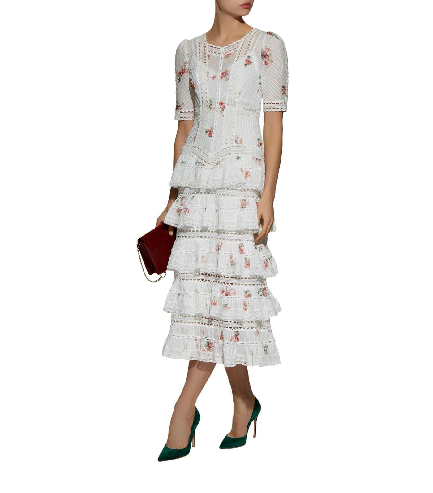 ZIMMERMANN Heathers Tiered Ruffle Midi White / Floral Printed Dress
