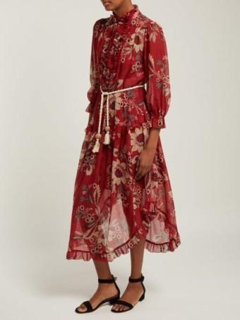ZIMMERMANN Juno Floral-print Cotton-blend Chiffon Midi Red Dress 2