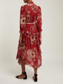 ZIMMERMANN Juno Floral-print Cotton-blend Chiffon Midi Red Dress 3