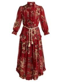 ZIMMERMANN Juno Floral-print Cotton-blend Chiffon Midi Red Dress 4